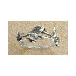 Leaf Vine Design Oxidized Sterling Silver Ring   Nature