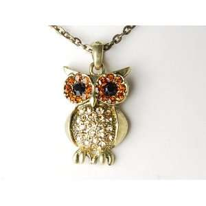 Gold Tone Topaz Crystal Rhinestone Curious Mr. Owl Big Eyed Pendant