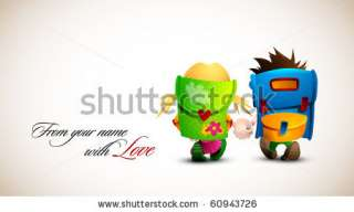 Birthday, Valentine Love Card  Boy And Girl Holding Hand Walking