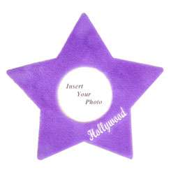 Star Shaped Picture Frame with soft violet plush surface. Stands at 8