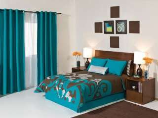 New Aqua Brown Silver Comforter Bedding Set Full 9PC
