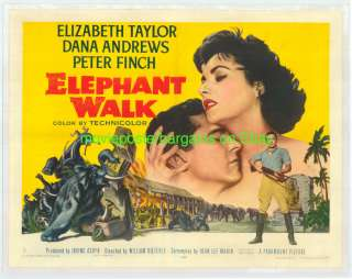 ELEPHANT WALK MOVIE POSTER 1954 HALF SHEET ELIZABETH TAYLOR LB FINE