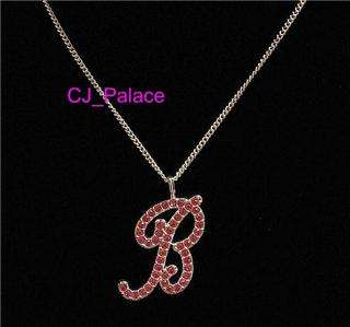 Alphabet B Rhinestone Crystal Charm Necklace w/ Chain