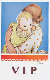 Mabel Lucie Attwell Baby and Mama Repro Greeting Card frm Vtg PC