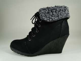 New Womens Black/Gray Faux Fur Cuff Ankle High Wedge Boots Sz 7 #F53