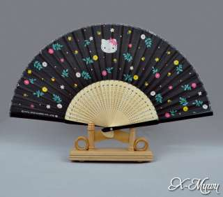 Hello Kitty Japanese Cartoon Cat Black Silk Hand Fan