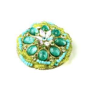 Blue Austrian Rhinestone Beads Flower Brooch Pin Jewelry