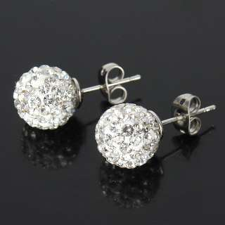 Hip Hop CZ Crystal Clear Disco Ball Bead fashion Stud Earrings