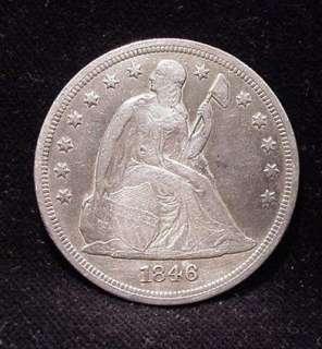 KEY DATE 1846 Liberty Seated Silver Dollar XF