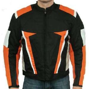 Nemesis Orange Black Armored Mens Textile Motorcycle