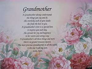 PERSONALIZED GRANDMOTHER POEM BIRTHDAY / CHRISTMAS GIFT