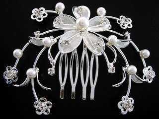 8x6 cm Flower Wedding or Party Pearl Crystal Hair comb