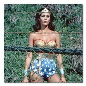 Lynda Carter Wonder Woman Behind Fence Color Stretched
