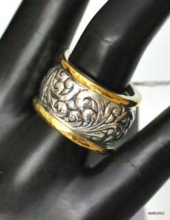 New LOIS HILL Repousse Sterling Silver Gold 3 Stacking Ring Set Size 7