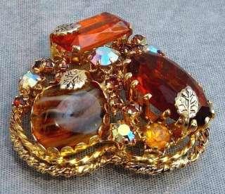 Vintage KRAMER Citrine Glass & AB Rhinestone Heart Shaped Brooch Made