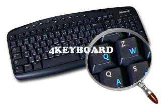 ENGLISH US TRANSPARENT KEYBOARD STICKERS BLUE LETTERS