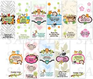 MONKEY JUNGLE Baby Shower Candy Wrapper Favors Labels