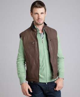 Brunello Cucinelli chocolate leather and wool reversible down filled