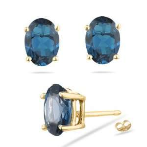 Oval Shape London Blue Topaz Stud Earrings in 18K Yellow Gold Jewelry