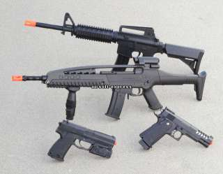 NEW LOT 4 AIRSOFT M16 RIFLES HAND GUN PISTOLS W/ 1K BBs