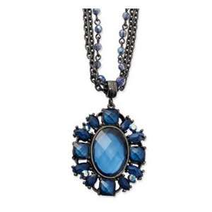 Black plated Blue Crystal Oval Pendant 22in Necklace Jewelry