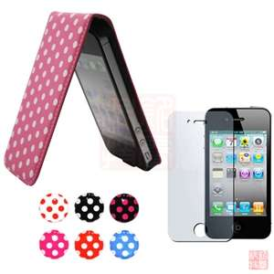 DOT LEATHER FLIP CASE COVER+Screen Protector+Sticker For IPHONE 4S 4G