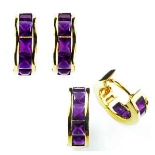 Jewelry PURPLE AMETHYST YELLOW GOLD GP EARINGS HOOP EARRINGS