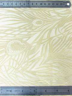 White n Gold Peacock Feathers BROCADE Fabric Yardage