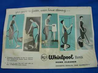 Vintage RCA Whirlpool BAMBI Cannister Vacuum Cleaner Attachment Manual