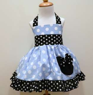 Girls Custom Boutique Minnie Mouse Blue And Black And White Polka Dot