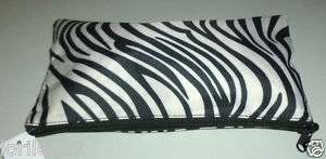BLACK & WHITE ZEBRA ANIMAL PRINT NYLON COSMETIC BAG