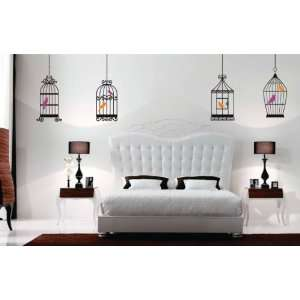 Series with Birds   Kids Baby Wall Vinyl Decal art graphic Four Cages